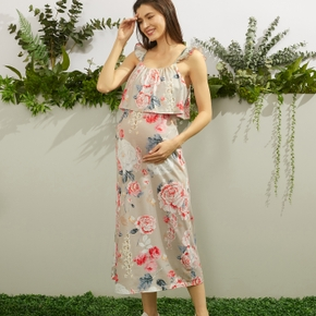 Maternity Sweet Floral Print Off the Shoulder H Sleeveless Dress
