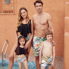 Family Look Solid Tank Top Plant Print Shorts Matching Swimsuits