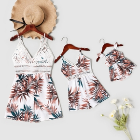 Floral Print Lace Hollow Sling Short Rompers for Mommy and Me