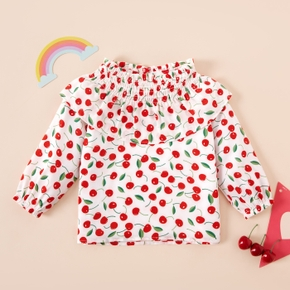 Baby Girl casual Shirt Cherry Print Cute Long-sleeve Baby Clothes Smock