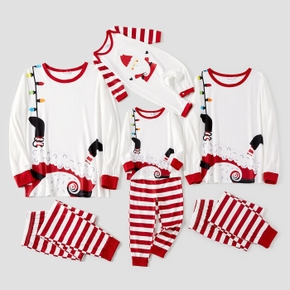 Christmas White and Red Stripe Print Family Matching Pajamas Sets(Flame Resistant)