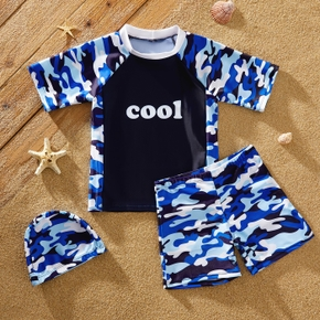 Kids Boy Camouflage Tee and Shorts with Hat Swimsuit Set