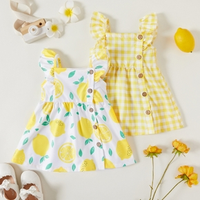 1pc Baby Girl Plaid&Lemon&Fruit Sweet Dress