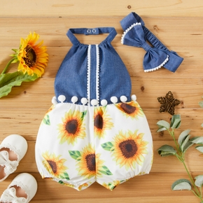 1pc Baby Girl Sleeveless Cotton  Sunflowers Print Polyester&Cotton Summer More Festivals Pants