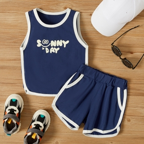 2-piece Toddler Boy Sporty Letter Camisole and Shorts Set
