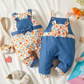 Baby Girl Floral Print and Denim Splicing Sleeveless Suspender Jumpsuit