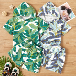 2-piece Toddler Summer Leaf Print Hooded Pullover and Shorts Set