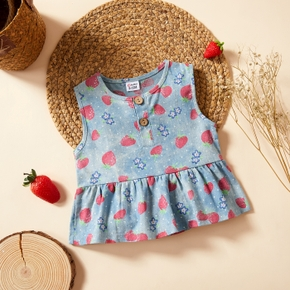 1pc Baby Girl Fruit Strawberry Print Cotton Summer Spring Cute Top Clothes