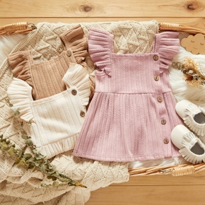 Ribbed Solid Flutter-sleeve Baby Dress