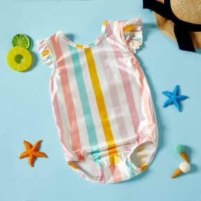 1pcs Baby Girl Sleeveless Stripes Print Color contrast Swimwear