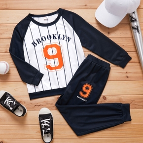 2-piece Kid Boy Striped Letter Number Print Long-sleeve and Elasticized Pants Casual Sporty Set