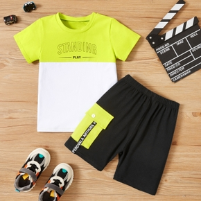 2-piece Toddler Boy Sporty Letter Tee and Shorts Set