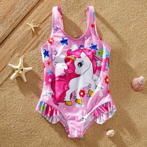 Kids Unicorn Bowknot Ruffled Swimwear