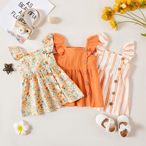 1pc Baby Girl Sleeveless Floral casual Dress