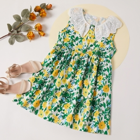 Beautiful Kid Girl Floral Plant Print Lace Flounced Collar Dress