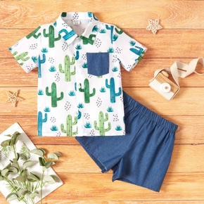 Trendy Toddler Boy Cactus Print Short-sleeve Shirt And Shorts