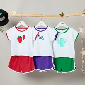Color Block Pattern Print Tee and Shorts Athleisure Set for Toddlers / Kids
