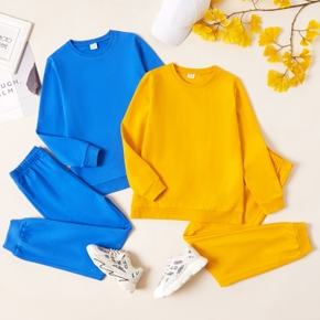 2-piece Kid Boy Solid Pullover Sweatshirt and Elasticized Pants Casual Set (Multi Color Available)