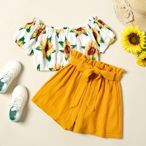 Pretty Kid Girl Sunflowers Floral Print Off Shoulder Top Bowknot Shorts Casual Sets