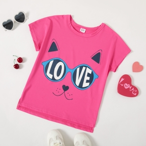 'Love' Cat Face Print Athlesure Tee for Toddlers / Kids