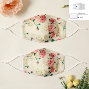 Floral Printed 3-Layer Protective Anti Dust Breathable Mask for Family (Include Two Replaceable Filters)