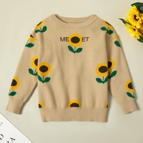 Pretty Sunflower Print Knitted Sweater