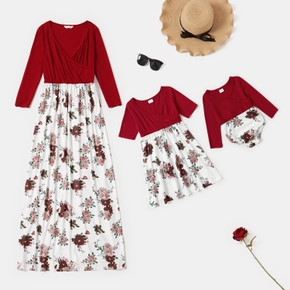 Floral Splice Print Matching Dresses for Mommy and Me