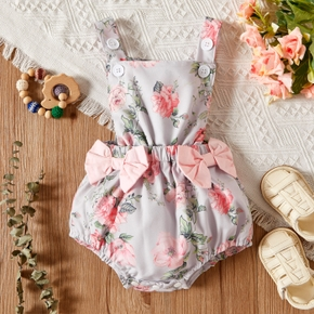 Baby Sleeveless Bowknot Sweet Floral Rompers