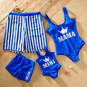 Stripe and Letter Print Family Matching Swimsuits