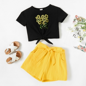 2-piece Toddler Girl Floral Print Tie Knot Short-sleeve Top and Bow Decor Solid Shorts with Pocket