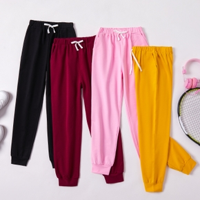 Kid Girl Bowknot Elasticized Multi Color Solid Casual Pants Sporty Sweatpants with Pocket