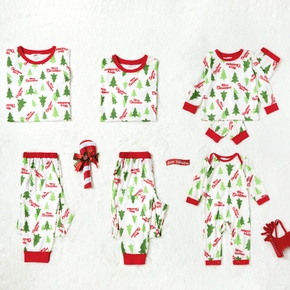 Family Matching Letter and Christmas Tree Print Pajamas Sets (Flame Resistant)