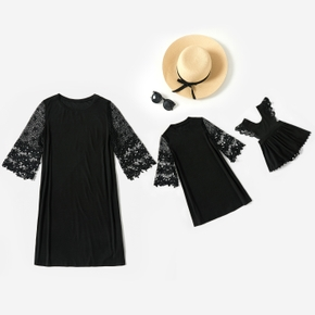 Solid Black Lace 3/4 Sleeve Dresses for Mommy and Me(Sleeveless Tank Dresses for Baby Girl)