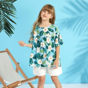 Pretty Kid Girl 2-piece Ruffle-sleeve Floral Print Ruffled Shorts Suits