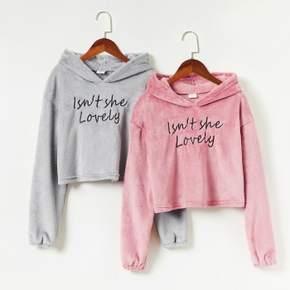 Kid Girl Letter Embroidered Hoodie