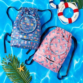 Marine Pattern Outdoor Sports Backpack Drawstring Bag for Toddlers / Kids