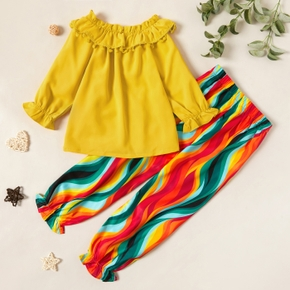 Stylish Solid Ruffle Collar Longsleeves Top and Striped Pants Set