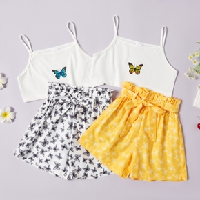 Pretty Kid Girl Suspender Butterfly Print Bowknot Decor Shorts Suits