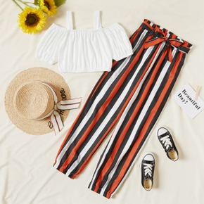 Kid Girl Solid Tank Top and Stripe Pants with Waistband