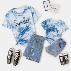 Letter Print Tie-dye Short Sleeve T-shirt for Mommy and Me