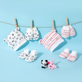 3-piece Baby Cartoon Hat and Anti-scratch Glove and Socks