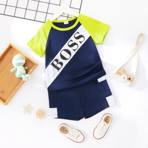 2-piece Toddler Boy Letter Print Colorblock Tee and Shorts Set