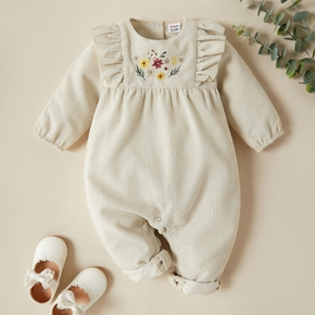 Baby Solid Floral Ruffled Jumpsuit
