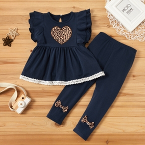 2-piece Baby / Toddler Girl Stylish Leopard Print Heart Top and Bowknot Pants Set