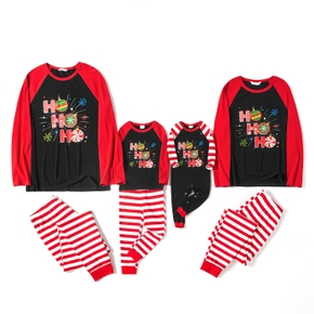 Mosaic Cotton Ho Ho Ho Snowflake Top and Stripe Pants Christmas Pajamas Sets