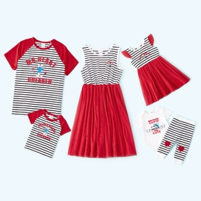 Smurfs Family Matching Valentine's Day Stripe Top and Mesh Tank Dresses