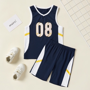 Color Block Number Print Tank Top and Shorts Athleisure for Toddlers / Kids