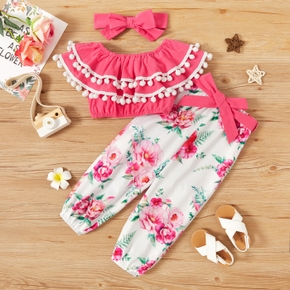3-piece Toddler Girl 100% Cotton Ruffled Romper Decor Top, Floral Print Pants with Belt and Headband Set