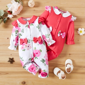 Baby Girl Doll Collar Bowknot Floral Print/Solid Ruffled Long-sleeve Jumpsuit