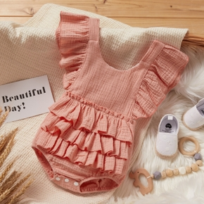 Baby Solid Flutter-sleeve Backless Ruffle Romper